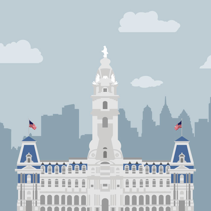 Philly City Hall Illustration