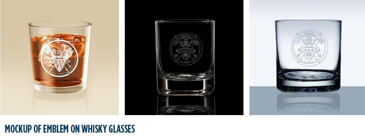 Mockup of emblem on whisky glasses